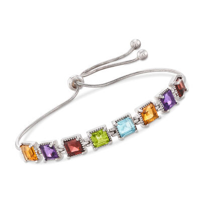 6.30 ct. t.w. Square Multi-Gem Bolo Bracelet in Sterling Silver