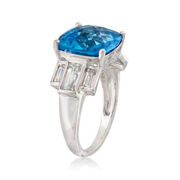 9.00 ct. t.w. Swiss Blue and White Topaz Ring in Sterling Silver, , default