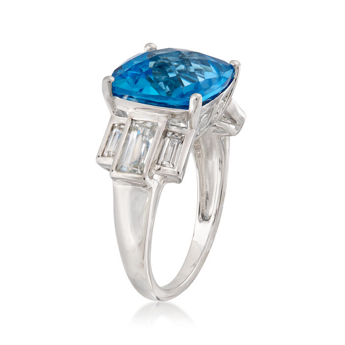 9.00 ct. t.w. Swiss Blue and White Topaz Ring in Sterling Silver