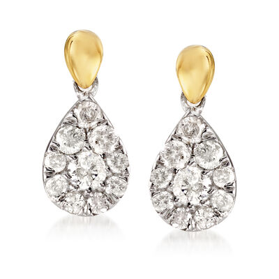 .50 ct. t.w. Diamond Pear-Shaped Cluster Drop Earrings in Sterling Silver and 14kt Yellow Gold, , default
