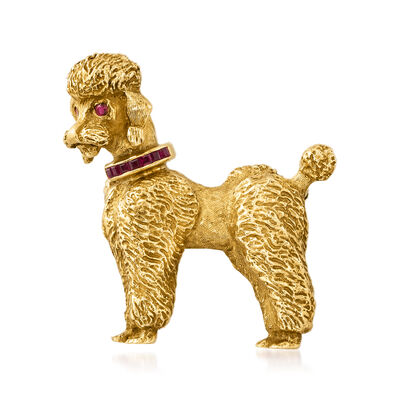 C. 1970 Vintage .32 ct. t.w. Ruby Poodle Pin in 18kt Yellow Gold