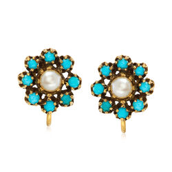 C. 1960 Vintage 5.8mm Cultured Pearl and Turquoise Clip-On Earrings in 14kt Yellow Gold., , default