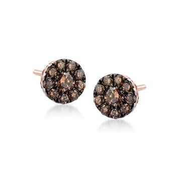 .22 ct. t.w. Champagne Diamond Stud Earrings in 14kt Rose Gold, , default