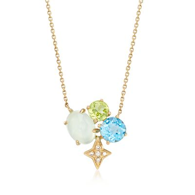 Green Chalcedony and .70 ct. t.w. Multi-Stone Star Necklace with Diamond Accents in 14kt Yellow Gold, , default
