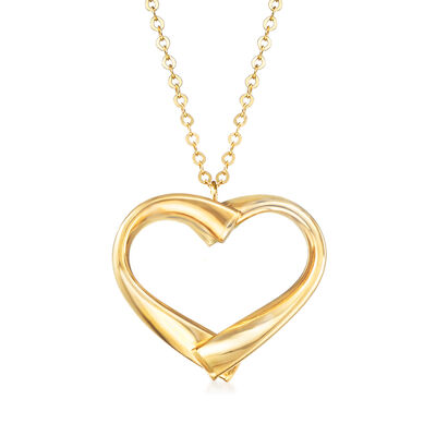 Italian 14kt Yellow Gold Open-Space Heart Pendant Necklace, , default
