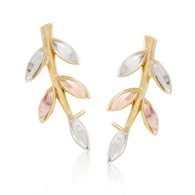 14kt Tri-Colored Gold Leaf Ear Climbers, , default