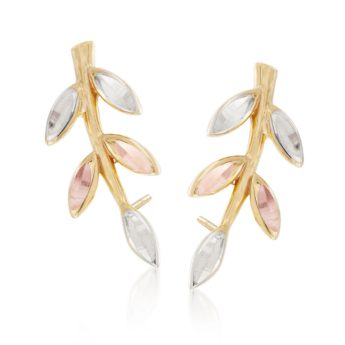 14kt Tri-Colored Gold Leaf Ear Climbers, , default
