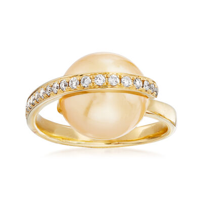 Golden Cultured South Sea Pearl and .30 ct. t.w. Diamond Ring in 18kt Yellow Gold, , default