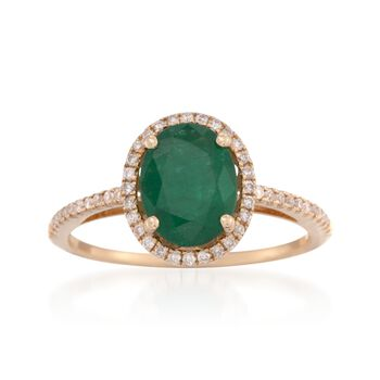 1.70 Carat Emerald and .20 ct. t.w. Diamond Ring in 14kt Yellow Gold, , default