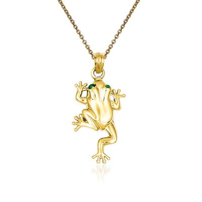 14kt Yellow Gold Frog Pendant Necklace, , default