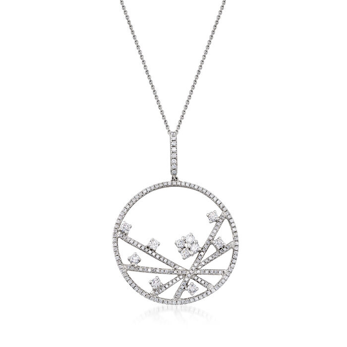 C. 1990 Vintage Piero Milano 1.75 ct. t.w. Diamond Abstract Circle Pendant Necklace in 18kt White Gold. 16""