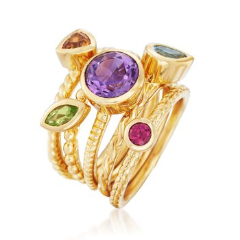 2.30 ct. t.w. Multi-Stone Jewelry Set: Five Stacking Rings in 14kt Gold Over Sterling, , default