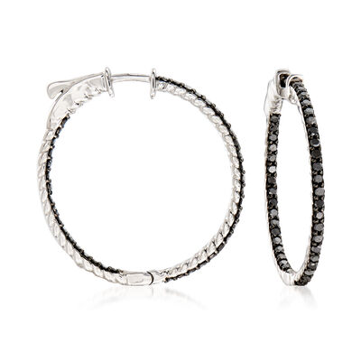 1.00 ct. t.w. Black Diamond Inside-Outside Hoop Earrings in Sterling Silver