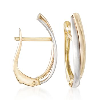 """14kt Two-Tone Gold Curved Double Hoop Earrings. 5/8"""", , default"""