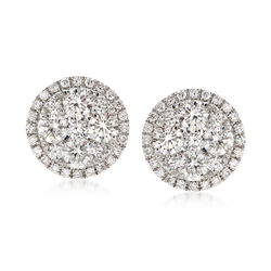 C. 2000 Vintage 1.35 ct. t.w. Diamond Circle Earrings in 18kt White Gold, , default