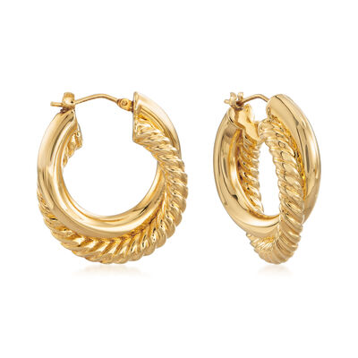 Italian Andiamo Crisscross Hoop Earrings, , default