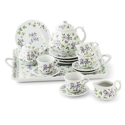 Child's Porcelain Violet Flower 12-pc. Tea Set, , default