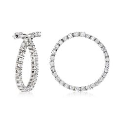 "1.50 ct. t.w. Diamond Front-Facing Hoop Earrings in 14kt White Gold. 7/8"", , default"