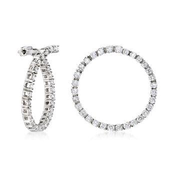"1.50 ct. t.w. Diamond Front-Facing Hoop Earrings in 14kt White Gold. 7/8"", , default"