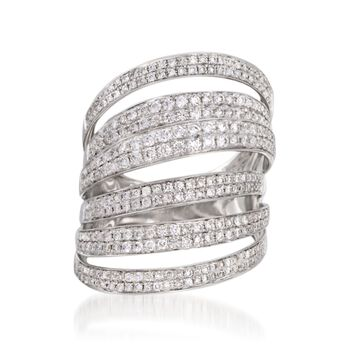 1.40 ct. t.w. Diamond Multi-Row Ring in 14kt White Gold. Size 7, , default