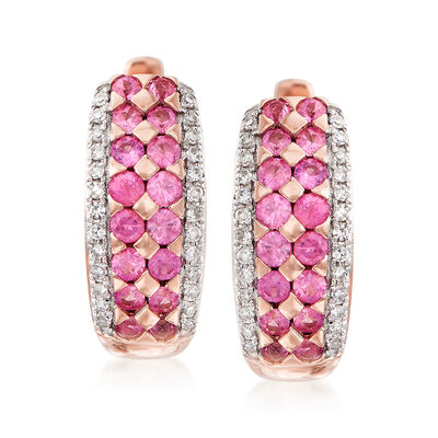 .50 ct. t.w. Pink Sapphire Huggie Hoop Earrings with .12 ct. t.w. Diamonds in 14kt Rose Gold, , default