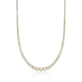 10.00 ct. t.w. Graduated Diamond Tennis Necklace in 14kt Yellow Gold, , default