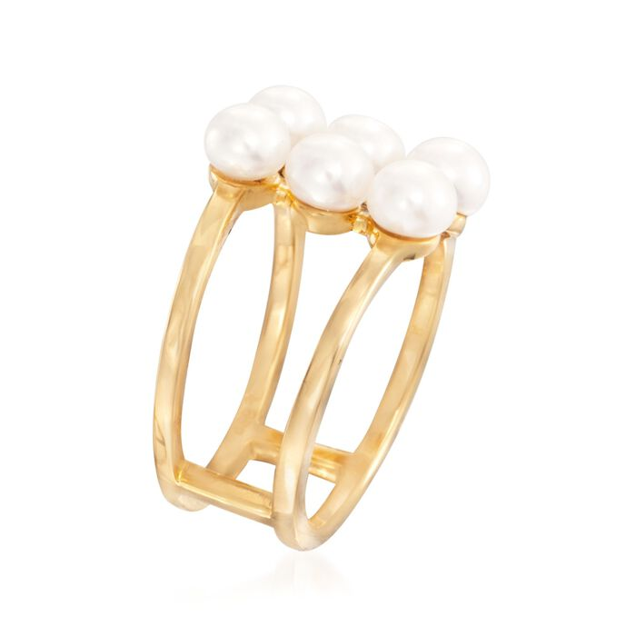 4-5.5mm Cultured Pearl Ring in 18kt Yellow Gold Over Sterling Silver