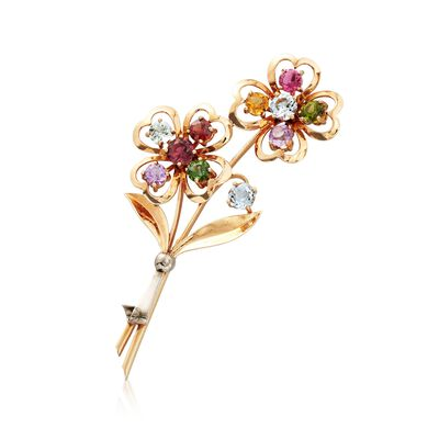 C. 1960 Vintage 2.62 ct. t.w. Multi-Stone Floral Pin in 14kt Yellow Gold, , default