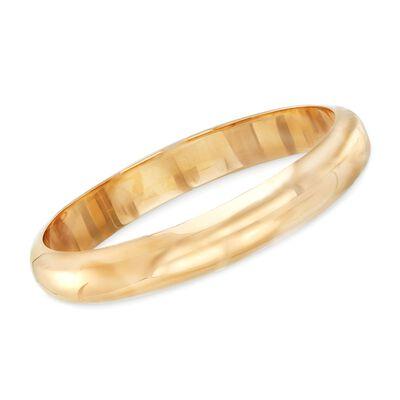 12mm 18kt Yellow Gold Over Sterling Silver Bangle Bracelet, , default