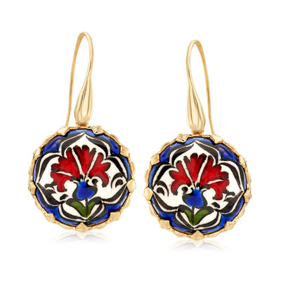 Hand-Painted Ceramic Floral Drop Earrings in 18kt Gold Over Sterling