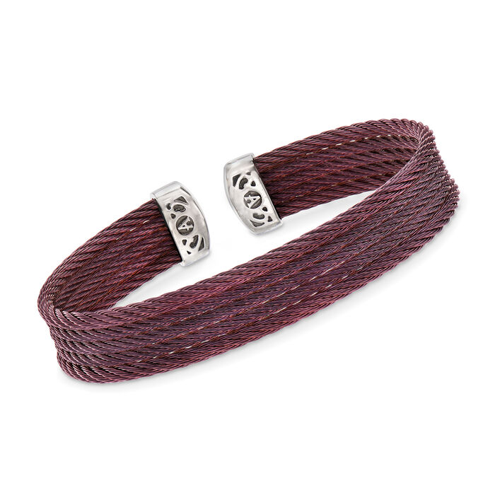 "ALOR ""Classique"" Burgundy Multi-Strand Stainless Steel Cable Cuff. 7"", , default"