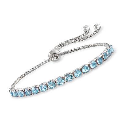 Swarovski Crystal Blue Bolo Bracelet in Sterling Silver, , default
