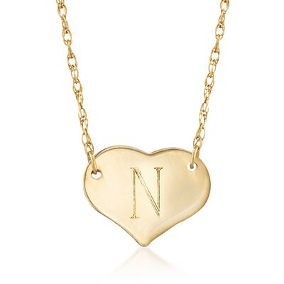 14kt Yellow Gold Single Initial Heart Necklace, , default