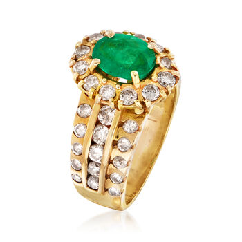 C. 1980 Vintage 1.00 Carat Emerald and 1.25 ct. t.w. Diamond Halo Ring in 14kt Yellow Gold. Size 6.5, , default