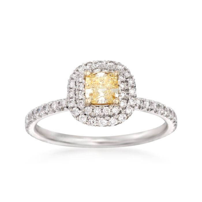 .86 ct. t.w. White and Fancy Yellow Diamond Double Halo Ring in 18kt White Gold, , default