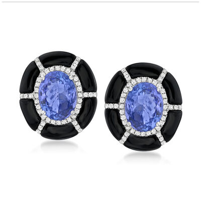 3.80 ct. t.w. Tanzanite and .36 ct. t.w. Diamond Earrings with Black Agate in 18kt White Gold