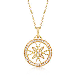 .84 ct. t.w. Diamond Floral Openwork Circle Pendant Necklace in 14kt Yellow Gold, , default