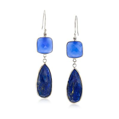 Teardrop Lapis and Cushion-Cut Blue Chalcedony Drop Earrings in Sterling Silver