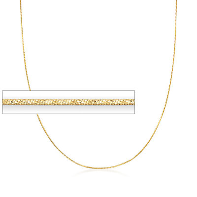 Italian .8mm 18kt Yellow Gold Diamond-Cut Snake Chain Necklace, , default