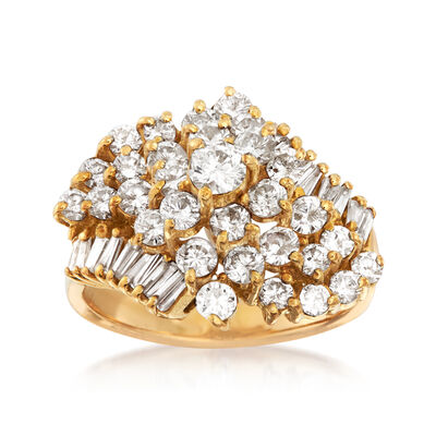 C. 1980 Vintage 2.10 ct. t.w. Diamond Cluster Ring in 18kt Yellow Gold
