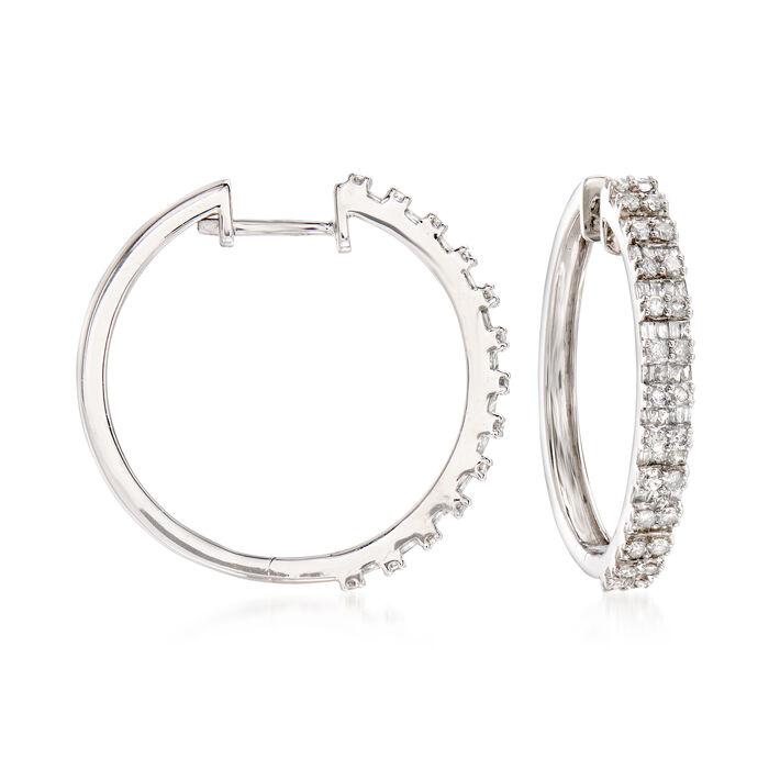 """1.00 ct. t.w. Diamond Hoop Earrings in Sterling Silver. 7/8"""""""