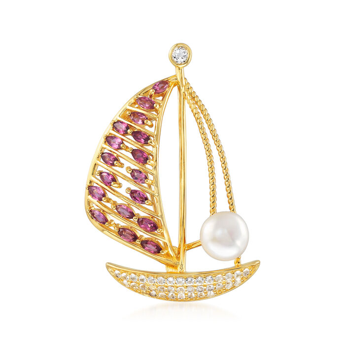 8mm Cultured Pearl, 4.40 ct. t.w. White Topaz and 1.80 ct. t.w. Rhodolite Garnet Sailboat Pin in 18kt Gold Over Sterling