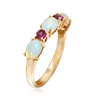 Ethiopian Opal and .20 ct. t.w. Rhodolite Garnet Ring in 14kt Yellow Gold