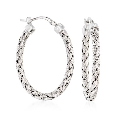"Charles Garnier ""Milan"" Sterling Silver Oval Hoop Earrings, , default"