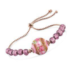 Italian Pink Murano Glass Bead Bolo Bracelet in 18kt Rose Gold Over Sterling , , default