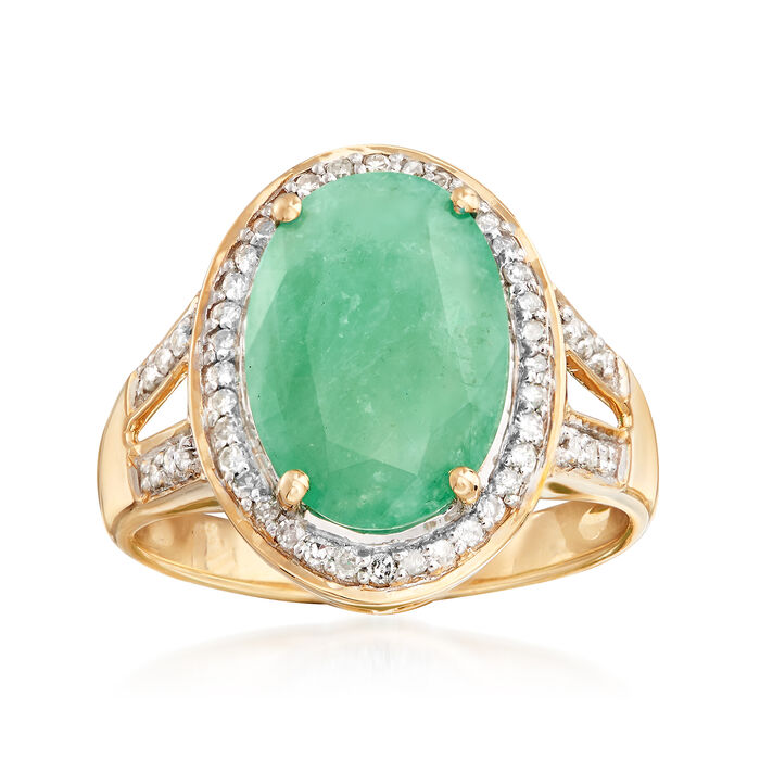4.20 Carat Emerald Ring with .24 ct. t.w. Diamonds in 14kt Yellow Gold, , default