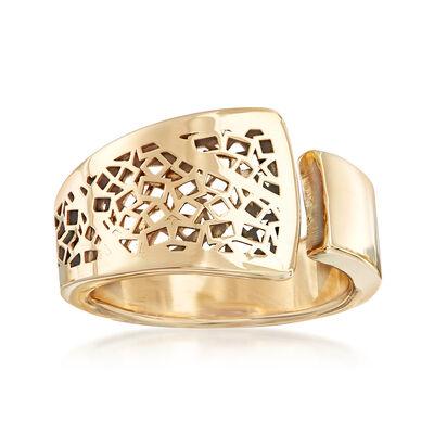 Italian 14kt Yellow Gold Filigree Cuff Ring, , default