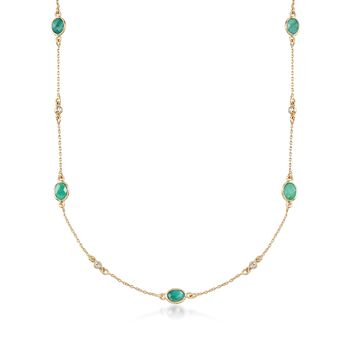 5.25 ct. t.w. Emerald and .16 ct. t.w. Diamond Station Necklace in 18kt Gold Over Sterling, , default