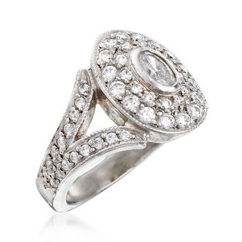 C. 2000 Vintage 1.15 ct. t.w. Diamond Oval-Top Ring in Platinum. Size 5, , default