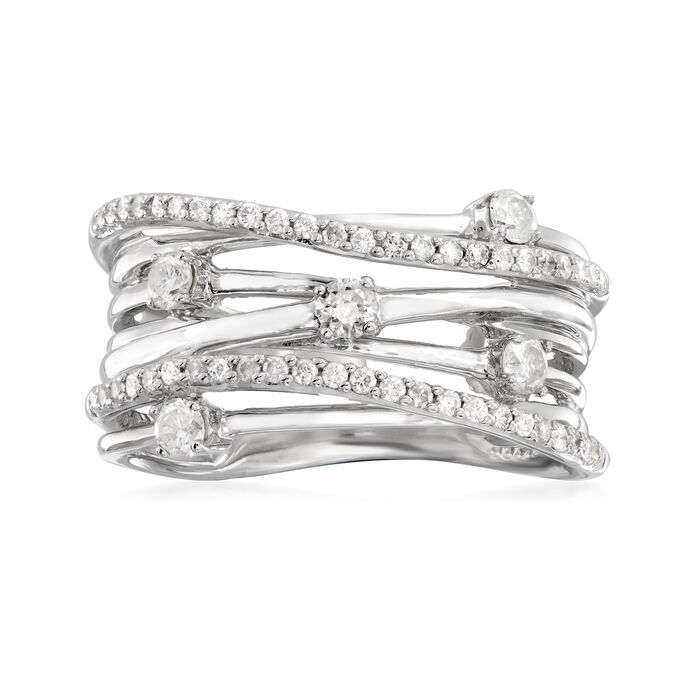 .51 ct. t.w. Diamond Highway Ring in Sterling Silver, , default